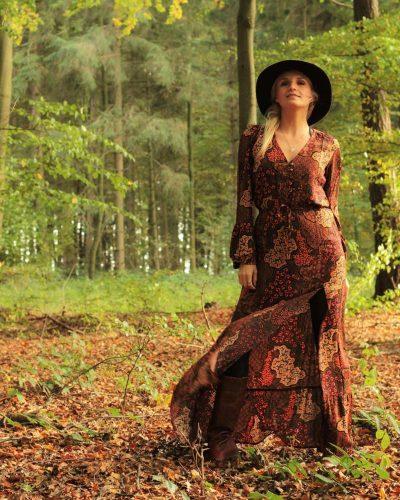Baho Style Herbst Winter Look Maxikleid mit Schlitz
