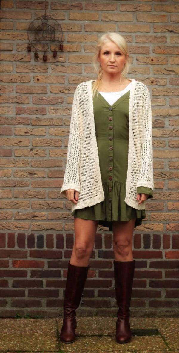 Boho Cardigan Outfit Herbst Winter Oversize Netz Cardigan Beige