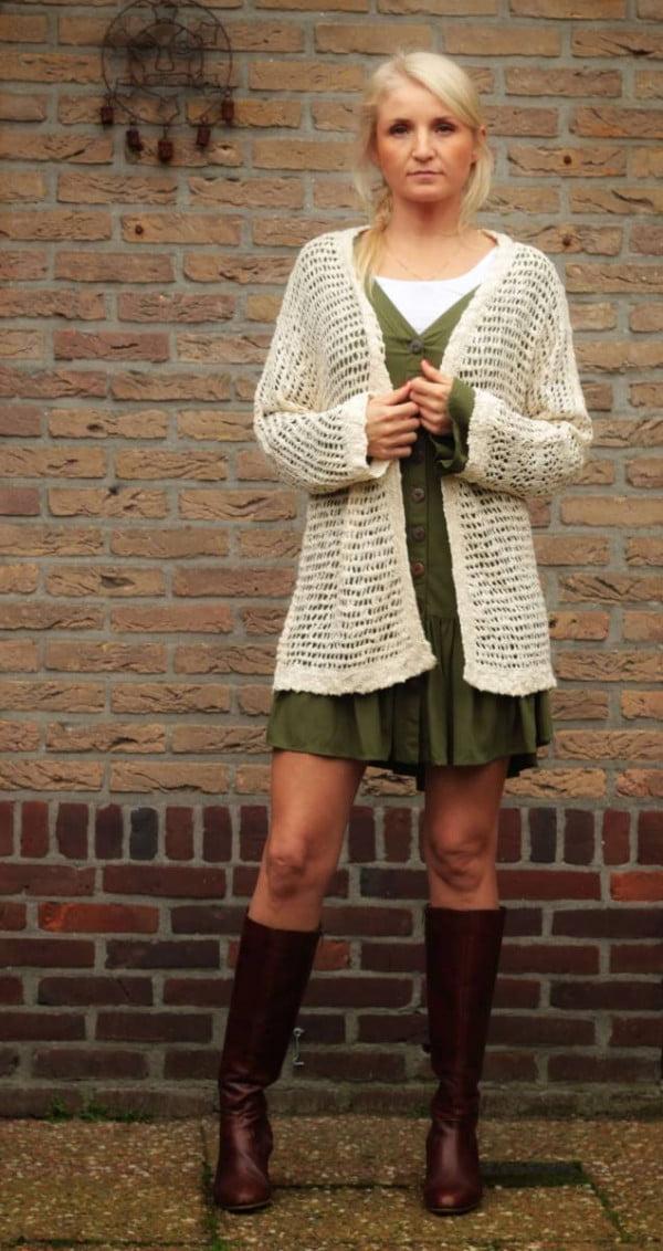 Boho Herbst Cardigan Outfit Midi Cardigan Netz-Optik Beige