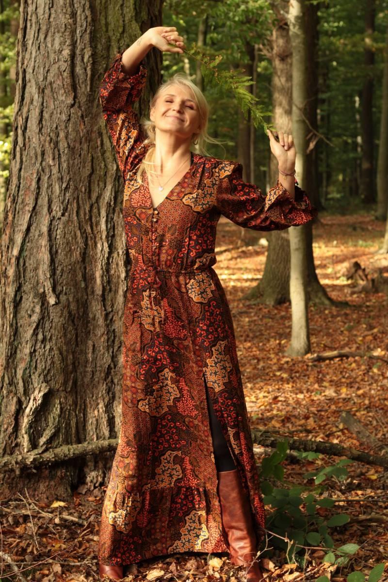 Boho Herbst Kleid Lang Batik Ethno Muster
