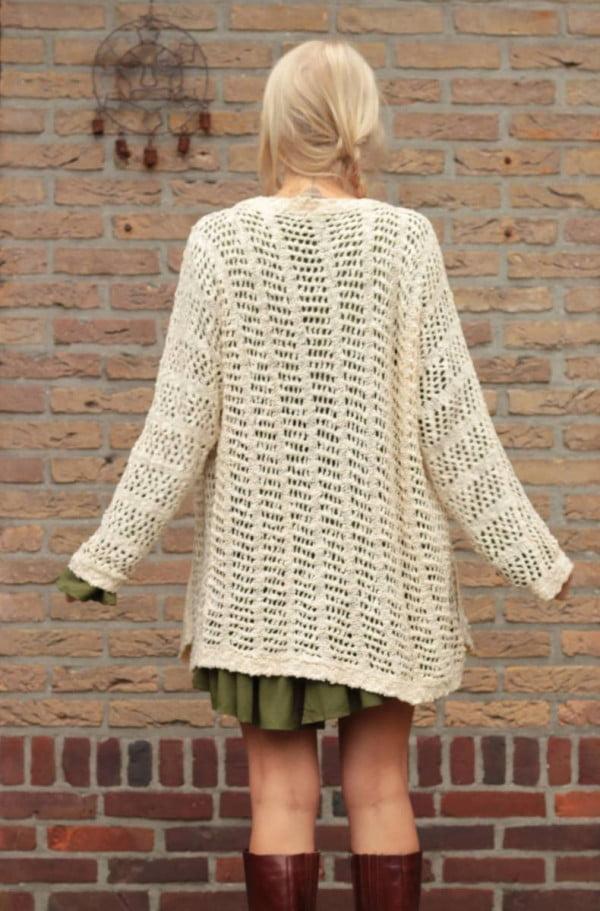 Boho Kleidung Boho Herbst Outfit Langer Cardigan Netz-Optik Beige Wollweiss