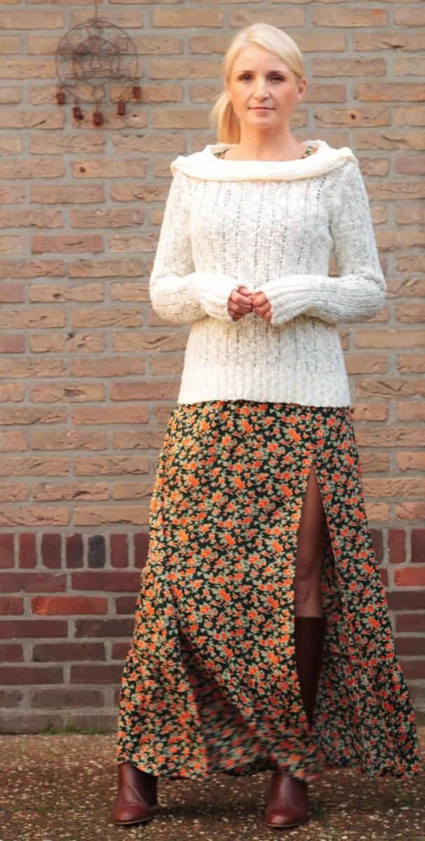 Boho Herbst Outfit U-Boot Kragen Pullover Strickwaren