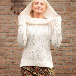 Boho Kleidung Hippie Hoodie Wollweiss