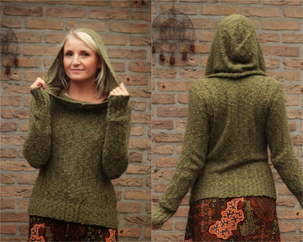 Boho Kapuzenpulli Olivgrün Khaki Herbst Winter Pullover Hippie Kleidung Online kaufen