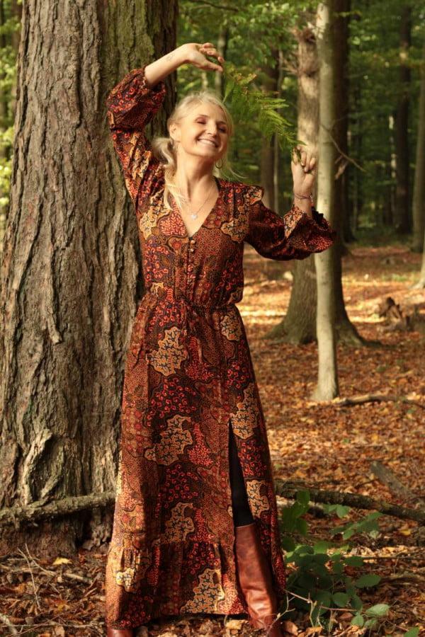 Boho Kleide Maxi Herbst Farben