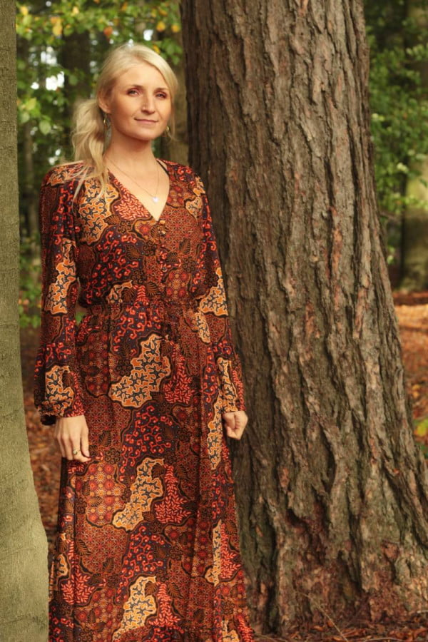 Boho MaxiBoho Kleide Maxi Herbst Farbenkleid Batik Muster Langarm