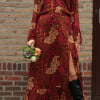 Boho maxi dress red batik