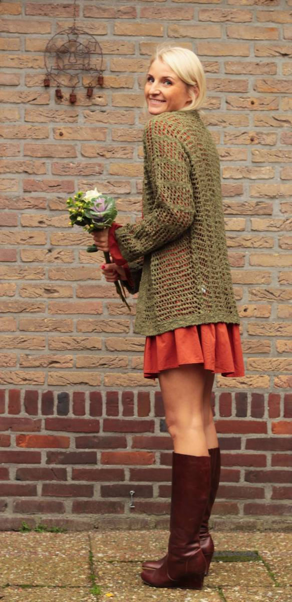 Boho Oversize Strick-cardigan Netzoptik Olive Herbst Style