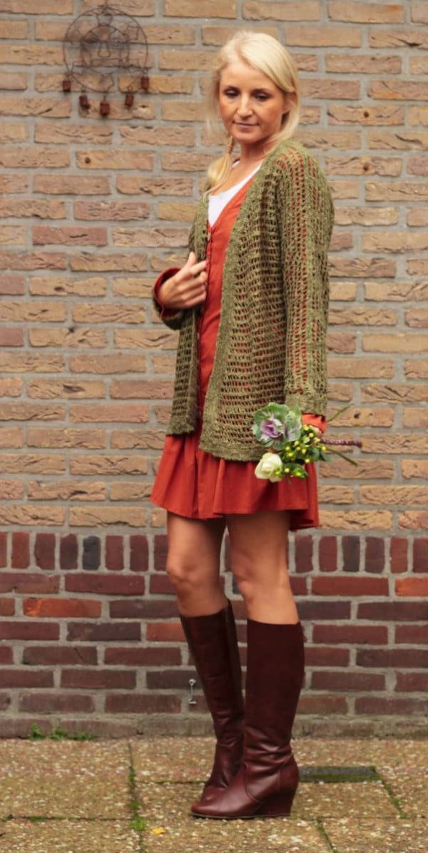 Boho Oversize Strick-cardigan Netzoptik Olive Herbst Winter Outfit