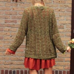 Boho Kleidung Boho Oversize Strick-Jacke Netzoptik Olive Khaki