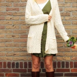 Boho Kleidung Boho Style Cardigan Wollweiss