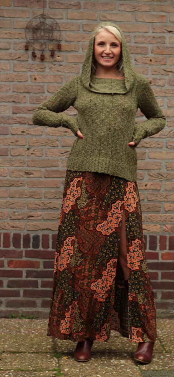 Herbst Winter Boho Outfit Hoodie Maxikleid