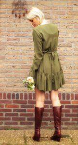 Hippie Kleid Herbst Winter Khaki Grün