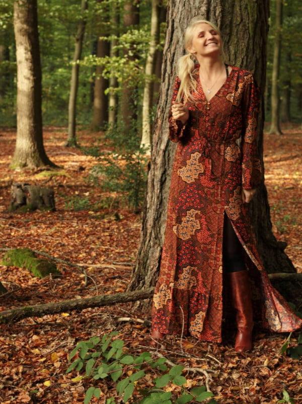 Hippie Kleid Lang V-Ausschnitt Langarm