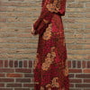 Hippie maxi dress long sleeve red autumn look ladies