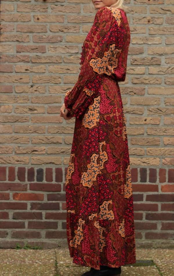 Hippie Maxikleid Langarm Rot Herbst Look Damen