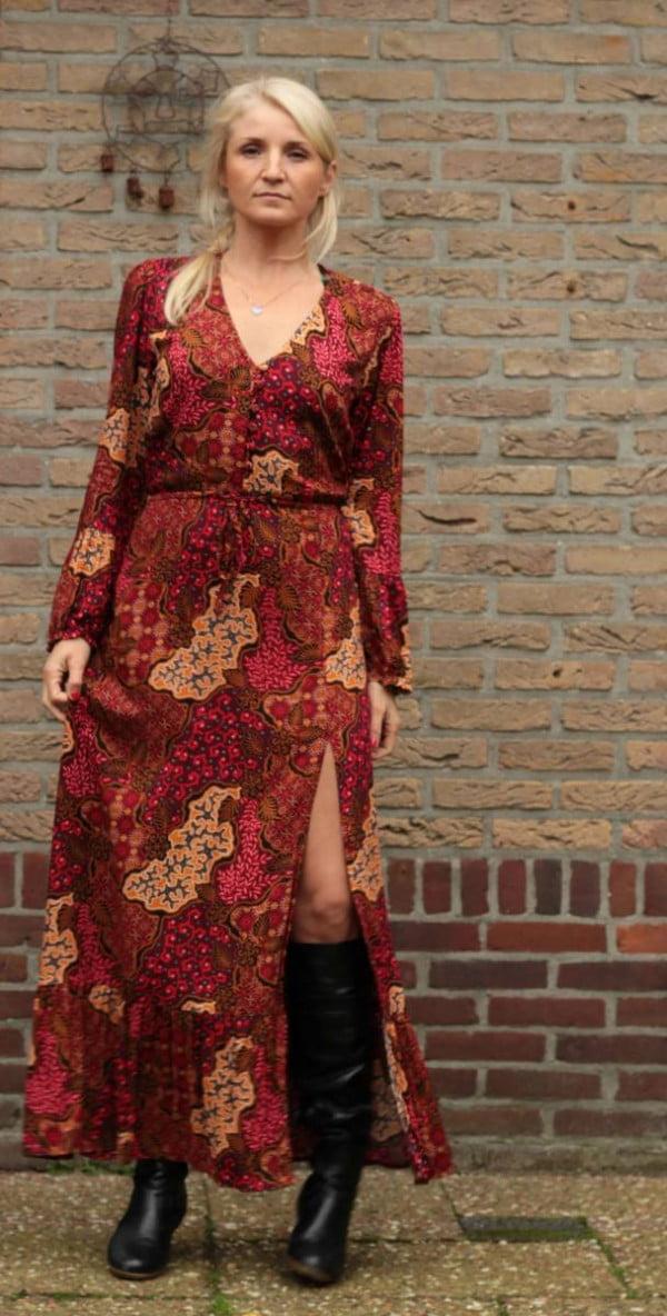 Hippie Maxikleid Langarm Rot Herbst Look Damen Boho Kleider Ibiza Style