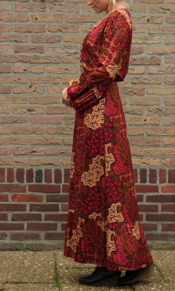 Hippie Maxikleid Langarm Rot Herbst Look Damen Boho Kleider lang
