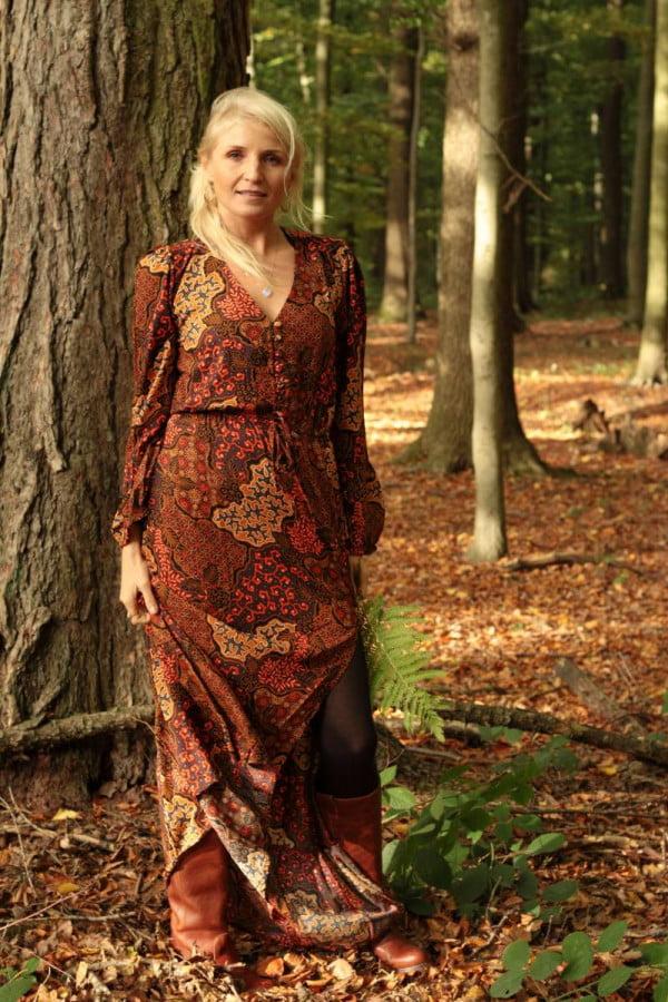 Hippie Maxikleid mit Schlitz Folklore Muster Batik