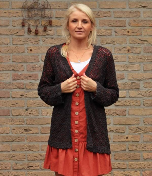 Oversize Strick-Cardigan Schwarz Boho Style