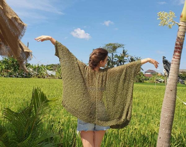 Sommer Cardigan Olivgrün Boho Style