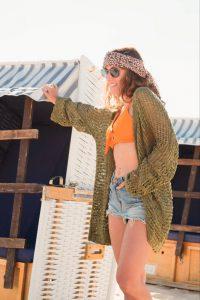 Sommer Jacke Strick Cardigan Boho Hippie Style Strand Überwurf Sommer Cardigan