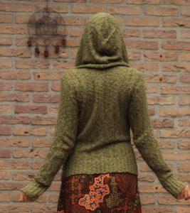 Hippie Hoodie Olive-Grün U-Boot Kragen Strick Hoodie Khaki Hippie Boho Kleidung