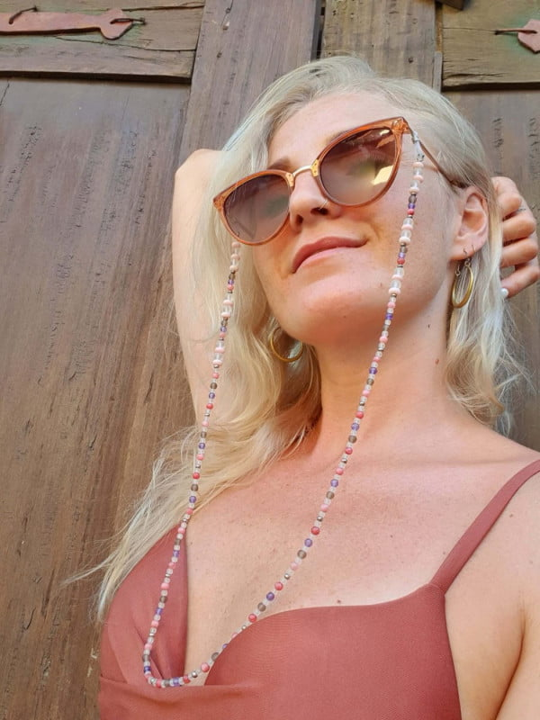 Boho Brillenkette Meerglas Pastellfarben Rosa Lila Grrau Achat Stein