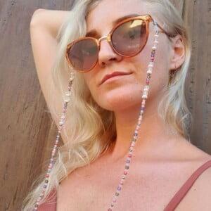 Brillenkette Meerglas Achat Pastellfarben Rosa Lila Grrau