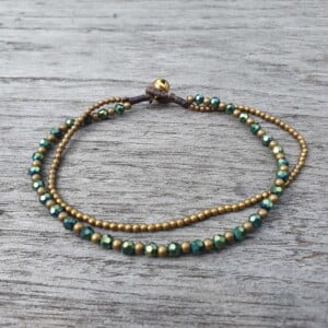Kristallperlen Fusskettchen Double String Brass Anklet Crystal beads Green Gold