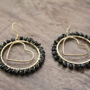 Elegant Crystal Hoops Black Chinese crystal Brass Heart Pendant
