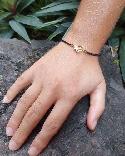 Feines Armband Engel schwarz Golde Freundschaft