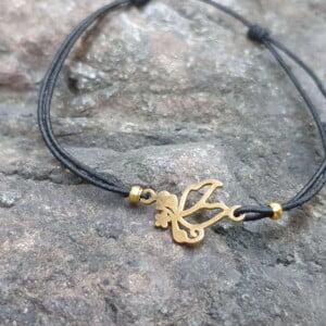 Filigranes Makramee Armband Kleines Feines Armband Schwarz Gold Engel