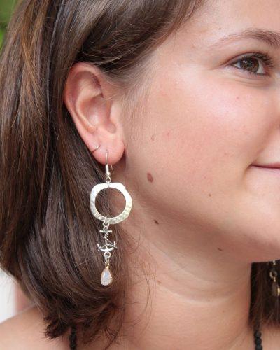 Silber Anker Ohrringe Lang