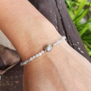 Feines Armband Labradorit 18k vergoldet