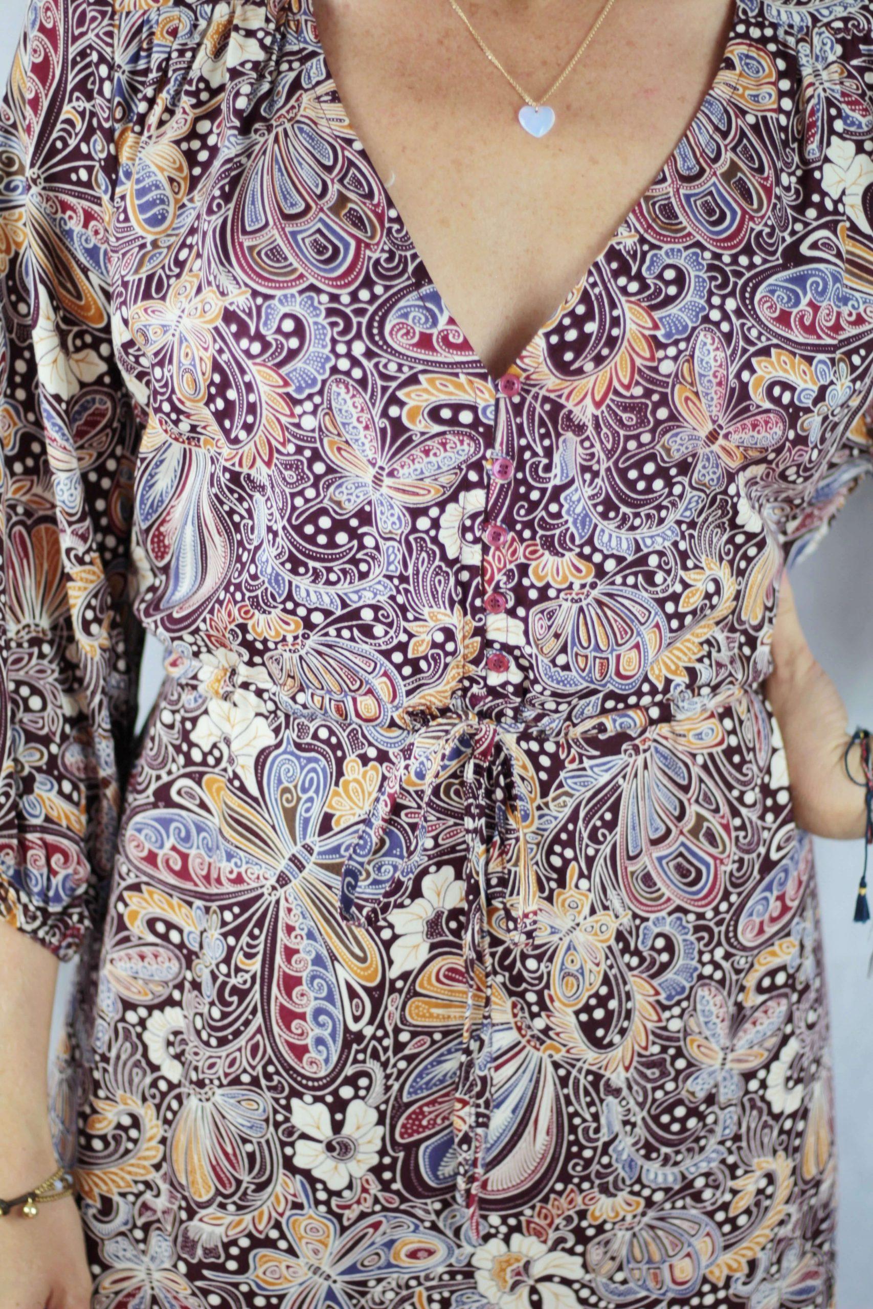 Boho Kleid Schmetterlingsprint Boho Style Kleidung