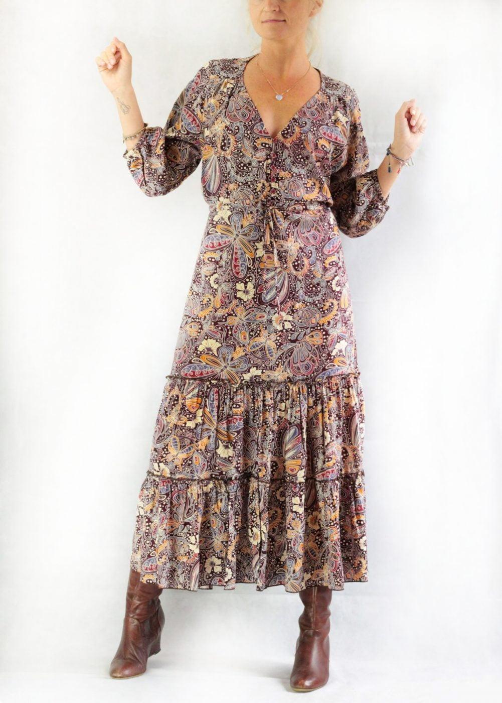 Boho Midikleid mit Schmetterlingsprint Boho Hippie Chic Kleidung Deutschland