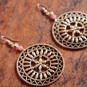 Große Gypsy Ohrringe Silber Mandala Hippie Style Achat Perle