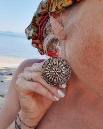 Große Gypsy Ohrringe Silber Mandala Hippie Style