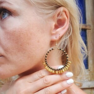 Gypsy Earrings Gold Black BIG