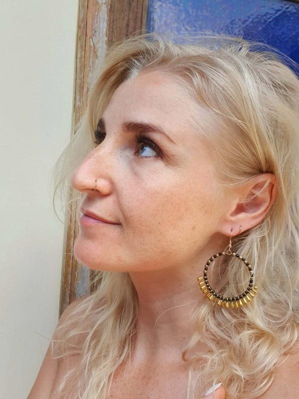 Gypsy Earrings Gold Black BIG