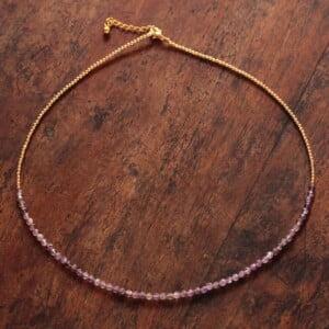 Kurze Halskette Amethyst 18 Karat Vergoldet Geburtsstein Edelstein