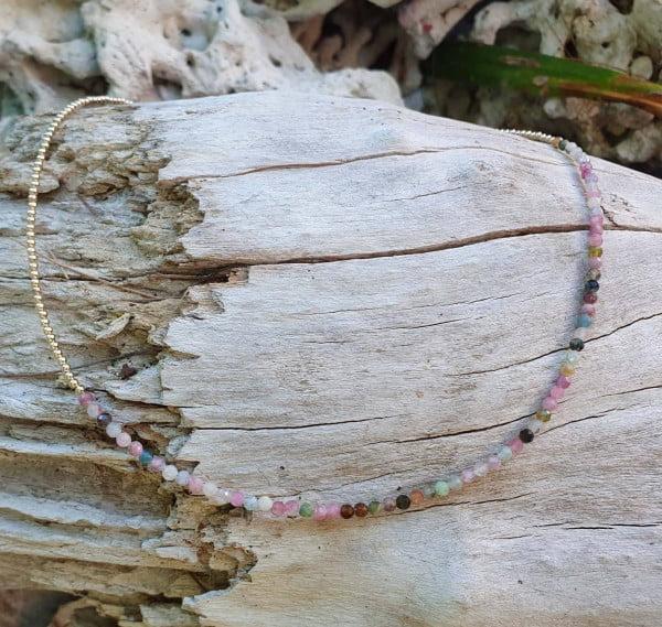 Minimalistische Halskette 18k vergoldet Amethyst Edelsteine Bunt