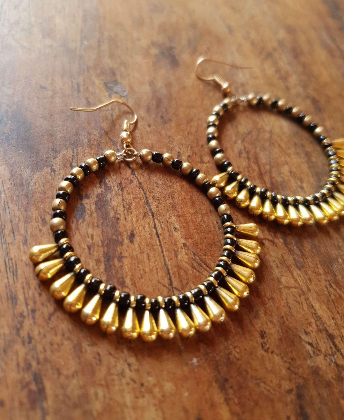 Orientalische Ohrringe Rund Mittelgroß Schwarz Gold
