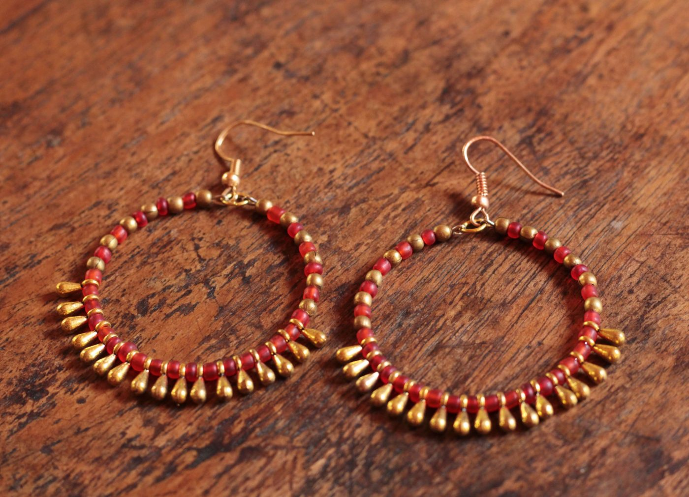 Runde Boho Ohrringe Gold Rot Messing Creolen OhrringeIbiza Boho Style