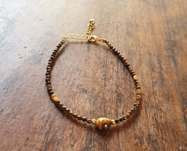 Tigerauge Armband Vergoldet 18k