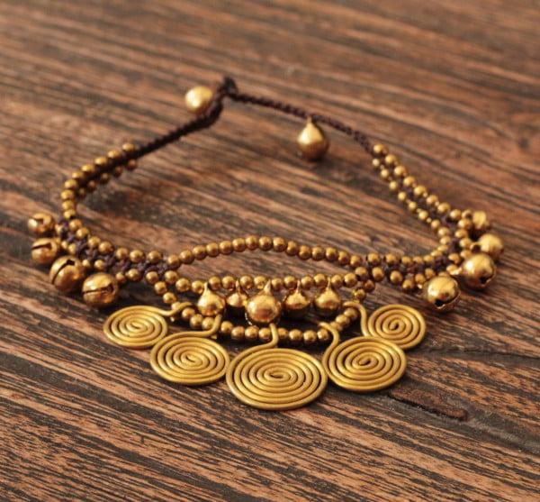 Goldene Hippie Fusskette Messing Brass