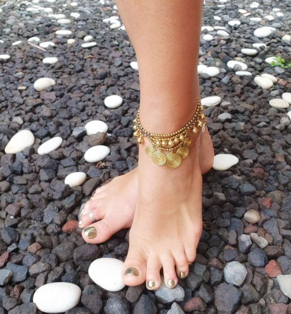 Hippie Makramee Fusskette Messing Gold - Hippie Makramee Schmuck - Boho Fusskette