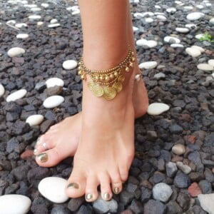 Hippie Schmuck - Hippie Makramee Fusskette Messing Gold - Makramee Schmuck
