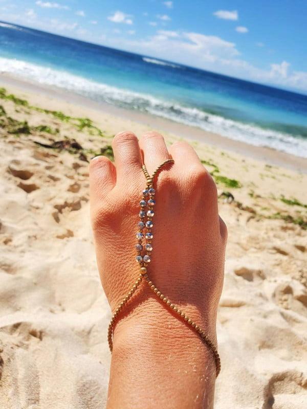 Makramee Handkette Ring Armband Handsandale Hippie Schmuck